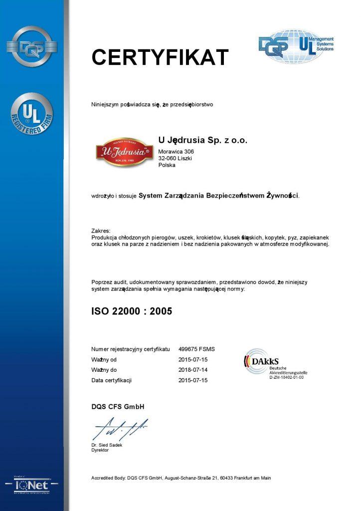 Certyfikat ISO 2200 - pierogi