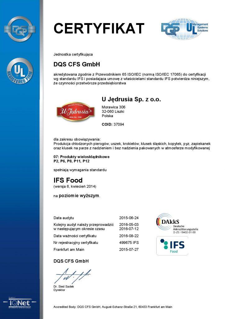 certyfikat IFS - pierogi